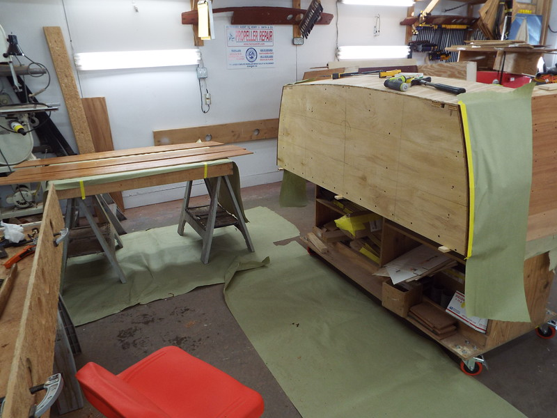 Gluing the transom planks in place.