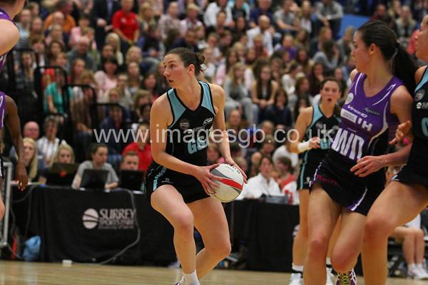 Rachel Dunn during  Surrey Storms 63 v 42 win against Hertfordshire Mavericks at Surrey Sports Park on the 29 April 2013 (ImagesGB)