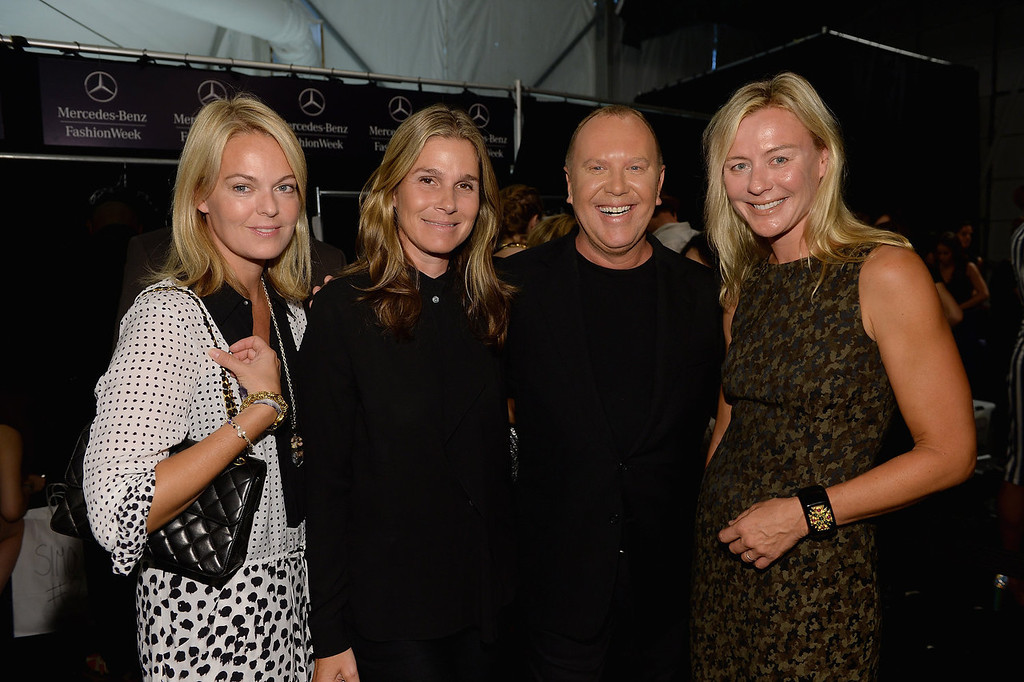. (L-R) Lauren Dupont, Aerin Lauder, designer Michael Kors and Renee Rockefeller backstage at the Michael Kors fashion show during Mercedes-Benz Fashion Week Spring 2014 at The Theatre at Lincoln Center on September 11, 2013 in New York City.  (Photo by Dimitrios Kambouris/Getty Images for Michael Kors)