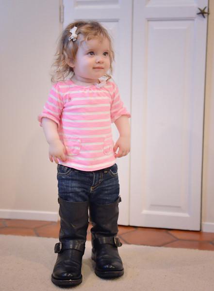 Isabella wearing big boots