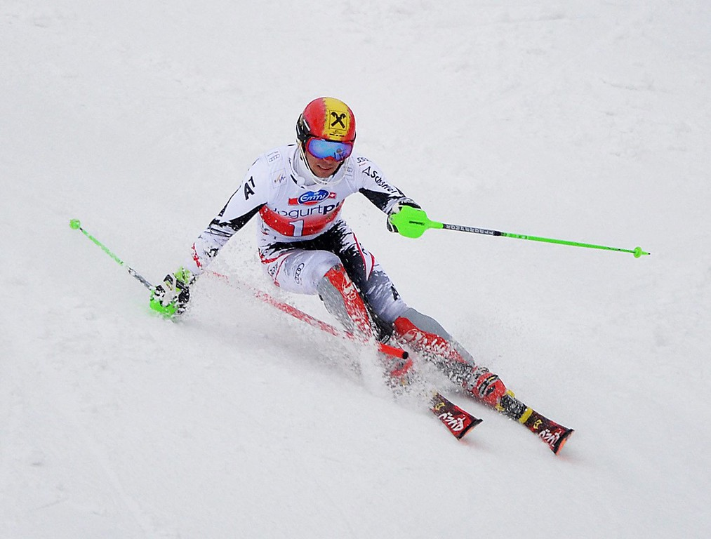 . Austria\'s Marcel Hirscher in action during the men\'s slalom race at the FIS Alpine Skiing World Cup finals in Parpan-Lenzerheide, Switzerland, 16 March 2014.  EPA/BARBARA GINDL