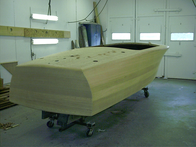 Starboard rear view of shaped cover boards.