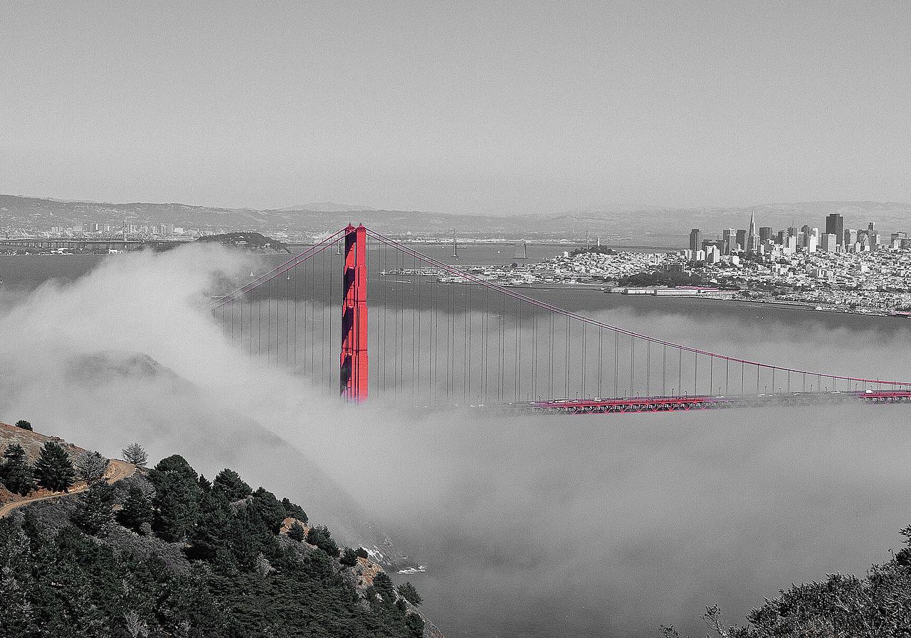 Golden Gate Bridge and SF Fog   #KW-17