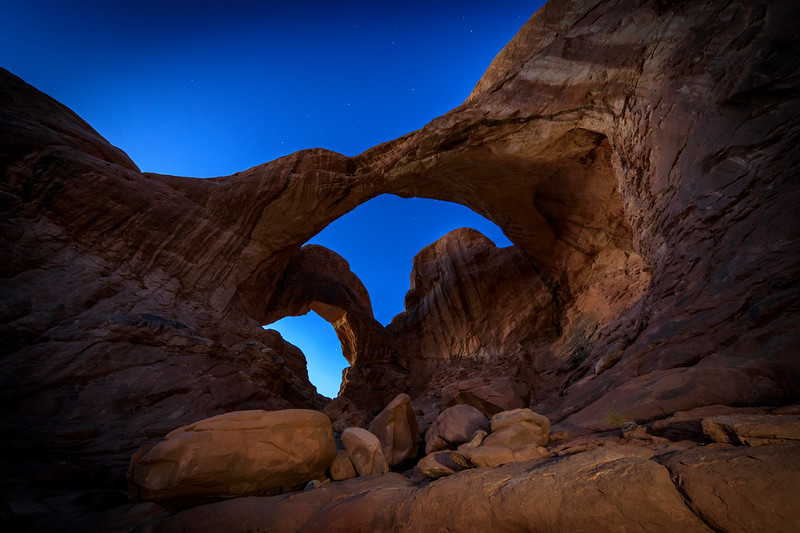 Double Arch at dusk in Arches NP