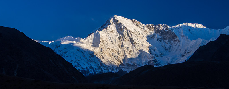 Cho Oyu, the sixth highest mountain in the world which straddles Nepal and China (Tibet), is bathed in morning light
