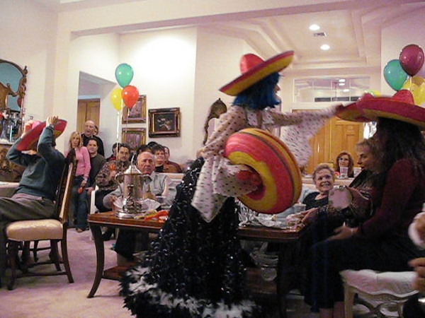 Video of Las Vegas entertainer Kiki Kalor having fun with guests on New Years Day at Barbara and Marvin Broxmeyer annual New Years Day Party.