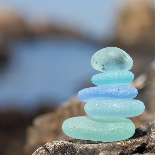 Monterey Blue Sea Glass Stack