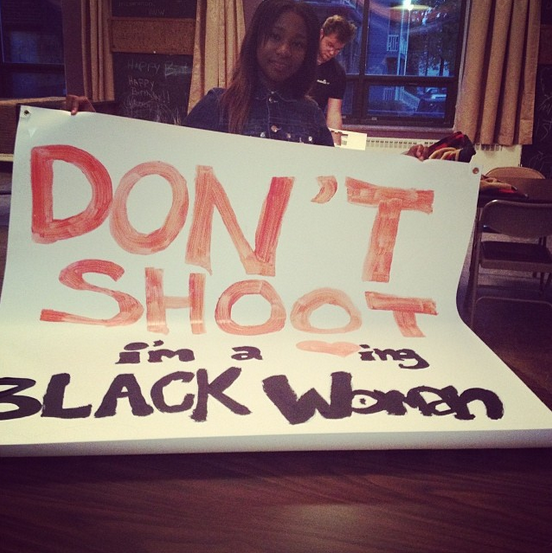. Dream Hampton, organizer of the demonstration, posted this picture on her Instagram account.