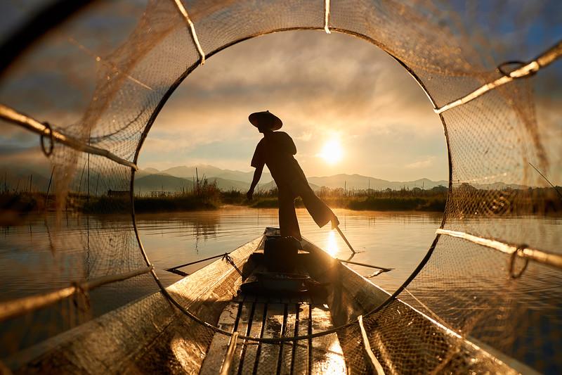 Fishermen in fishnet
