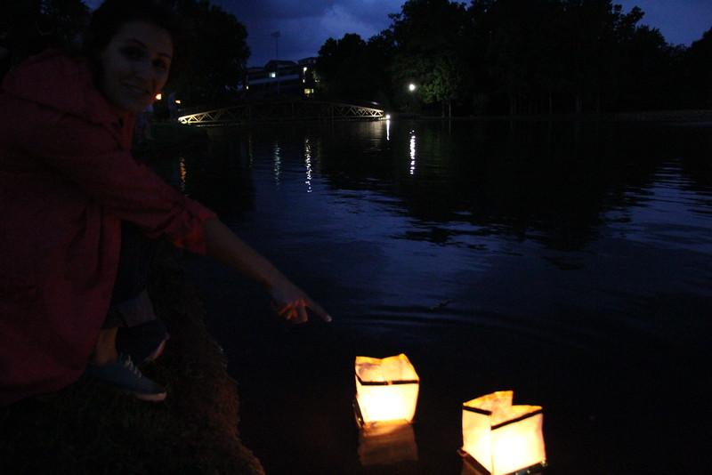Tori James got excited seeing her lantern float away