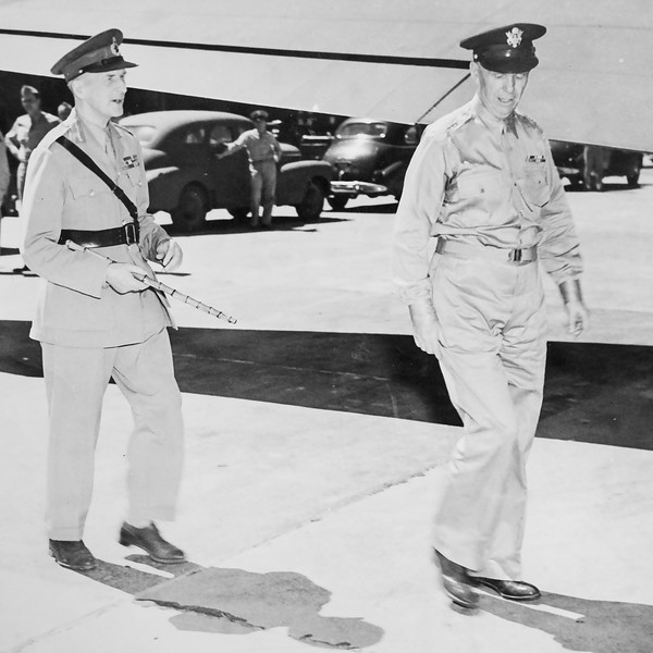 Jim's 1945 photo of Lord Mountbatten and General George Marshall.