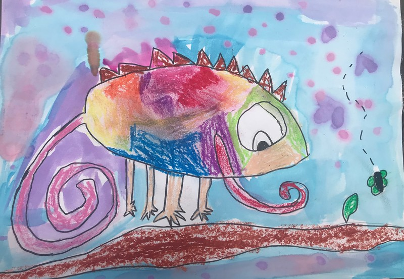 """Kat Zheng, grade 1 """"Colorful Chameleon"""" watercolor on paper 9""""x12"""""""