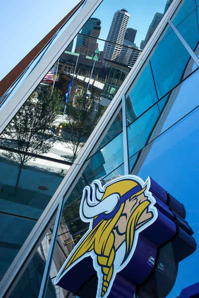 Minnesota Vikings logo on the U.S. Bank Stadium, Minneapolis, Hennepin County, Minnesota, USA