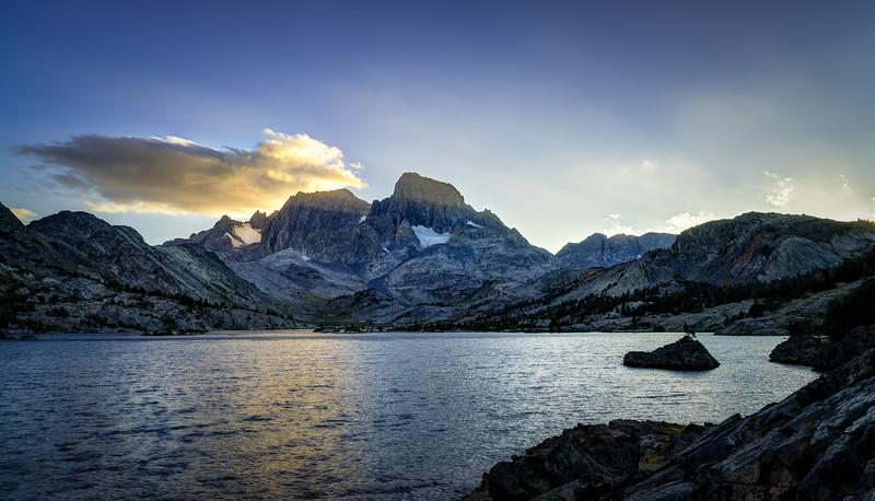 Sunset at Mt. Ritter, Banner Peak, and Garnet Lake