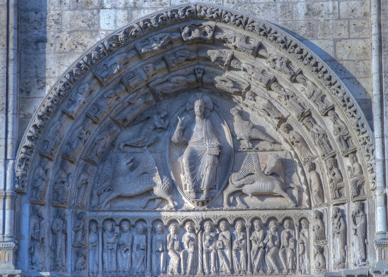 Chartres Cathedral West Facade Tympanum, Christ in Majesty with the Symbols of the Evangelists