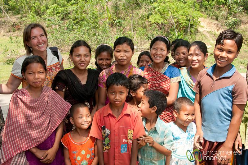 Audrey With Group of Kids in Garo Village - Srimongal, Bangladesh