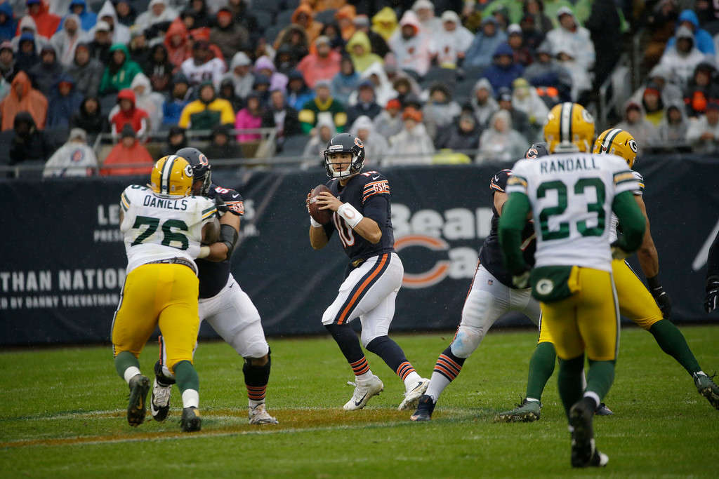 . Chicago Bears quarterback Mitchell Trubisky (10) looks for a receiver during the first half of an NFL football game against the Green Bay Packers, Sunday, Nov. 12, 2017, in Chicago. (AP Photo/Nam Y. Huh)