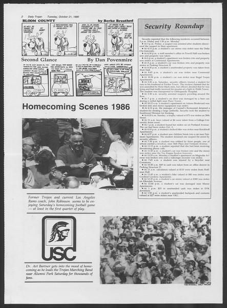 Daily Trojan, Vol. 102, No. 36, October 21, 1986