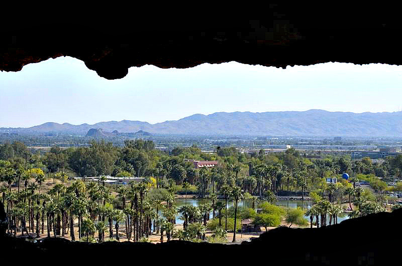 Av  view of Phoenix through the hole in the mountain at Papago Park.