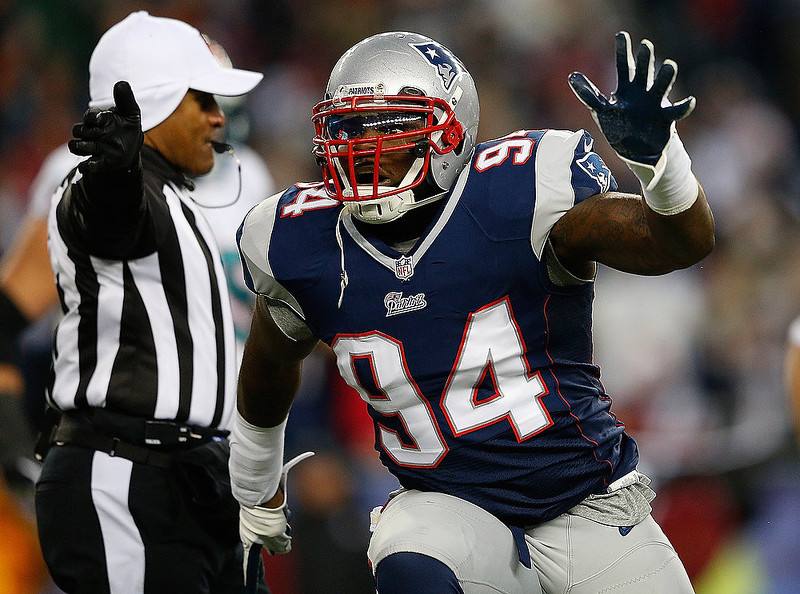 . Justin Francis #94 of the New England Patriots reacts after a sack against the Miami Dolphins in the first quarter at Gillette Stadium on December 30, 2012 in Foxboro, Massachusetts. (Photo by Jim Rogash/Getty Images)