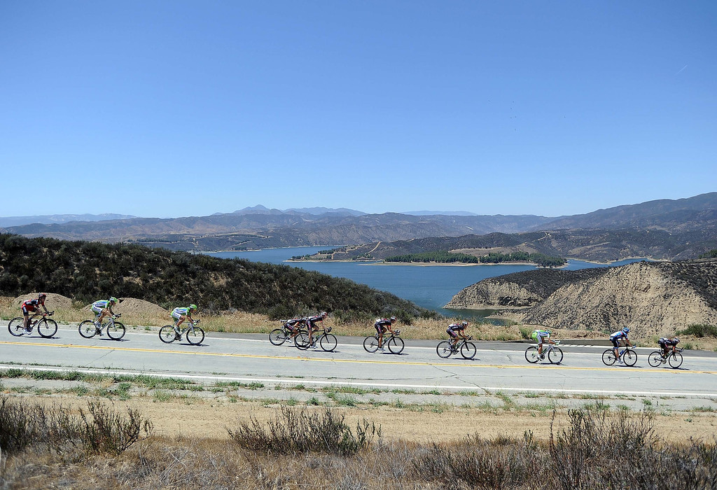 . Riders decsend in front of Castaic Lake during Stage 3 of the Tour of California on May 14, 2013 in Castaic, California.  (Photo by Harry How/Getty Images)
