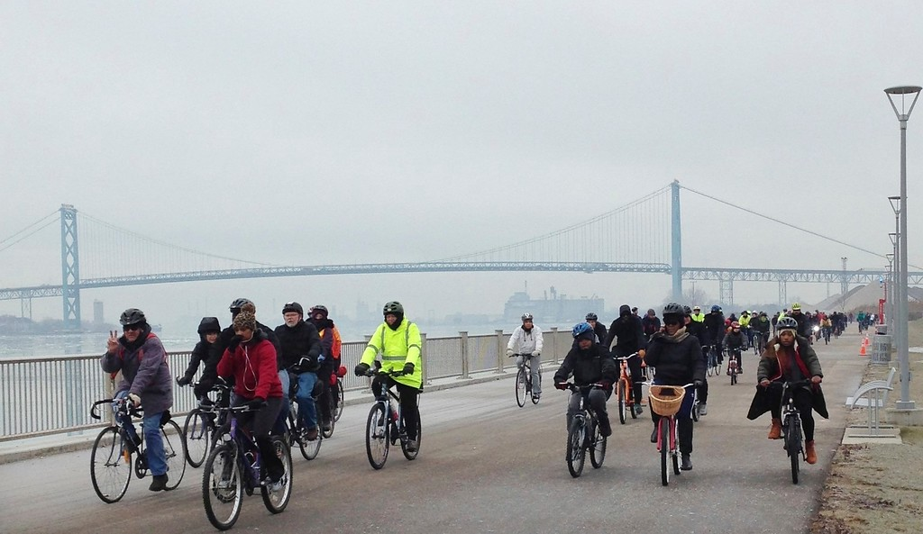 """. Bicyclists ride along the Detroit River Walk, Monday, Jan. 16, 2017, in Detroit. Bicyclists in the city have marked Martin Luther King Jr. Day by pedaling to sites connected to a historic visit the slain civil rights leader made to the city. About 300 bicyclists participated in Monday\'s free 10-mile ride, which took in such sites as downtown Detroit\'s Cobo Center. That\'s where King gave an early version of his \""""I Have a Dream\"""" speech in June 1963. He also led more than 100,000 marchers down Woodward Avenue in what was called the \""""Great Walk to Freedom,\"""" about two months before he delivered his famous speech in Washington, D.C. (AP Photo/Carlos Osorio)"""