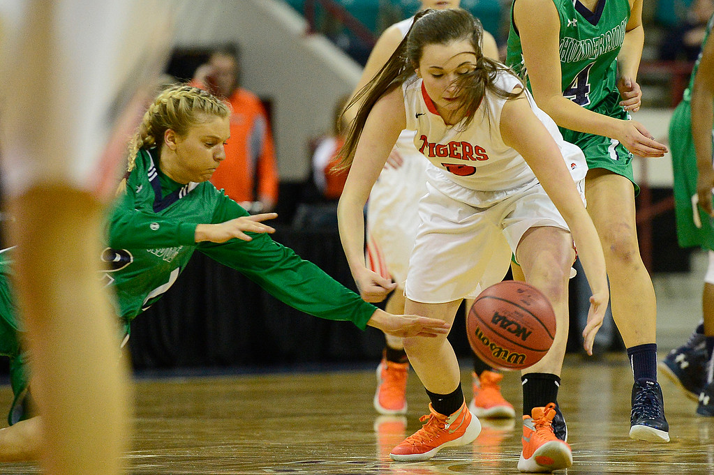 . ThunderRidge point guard Madison Ward (2) and Lakewood guard Madeleine Coughlin (5) dive for a loose ball during the second quarter at the Denver Coliseum on March 4, 2016 in Denver, Colorado. ThunderRidge took on Lakewood in the quarterfinals of girls 5A basketball tournament. (Photo by Brent Lewis/The Denver Post)