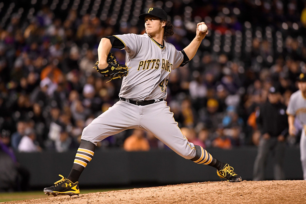 . DENVER, CO - APRIL 25: Jeff Locke (49) of the Pittsburgh Pirates works against the Colorado Rockies during the fourth inning at Coors Field. The Colorado Rockies hosted the Pittsburgh Pirates on Monday, April 25, 2016. (Photo by AAron Ontiveroz/The Denver Post)
