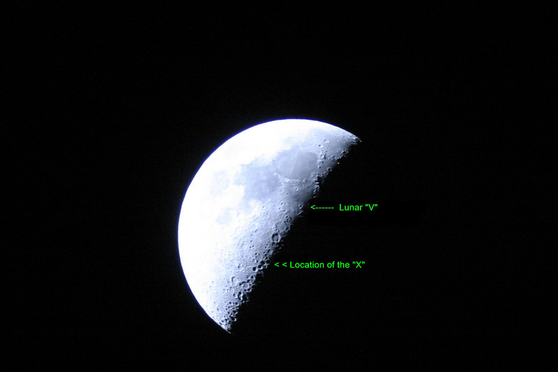 """The march 3, 2009 image also shows the Lunar """"V"""" to some extent. While the Lunar V is feature comprised of the mountain range near the Ukert crater area.  When the sun's latitude is near the Moon's equator, the Ukert """"V"""" becomes prominent at nearly the same time as the Lunar X. When the Sun is at its maximum latitude north of the equator, the """"V"""" is prominent before the """"X"""" is clear; while the reverse is true when the Sun is south of the equator.  The above image, of the Lunar """"V"""" shows the V formation rather well , but not in this case a terminator view. However the """"V"""" is quite well defined in this picture."""