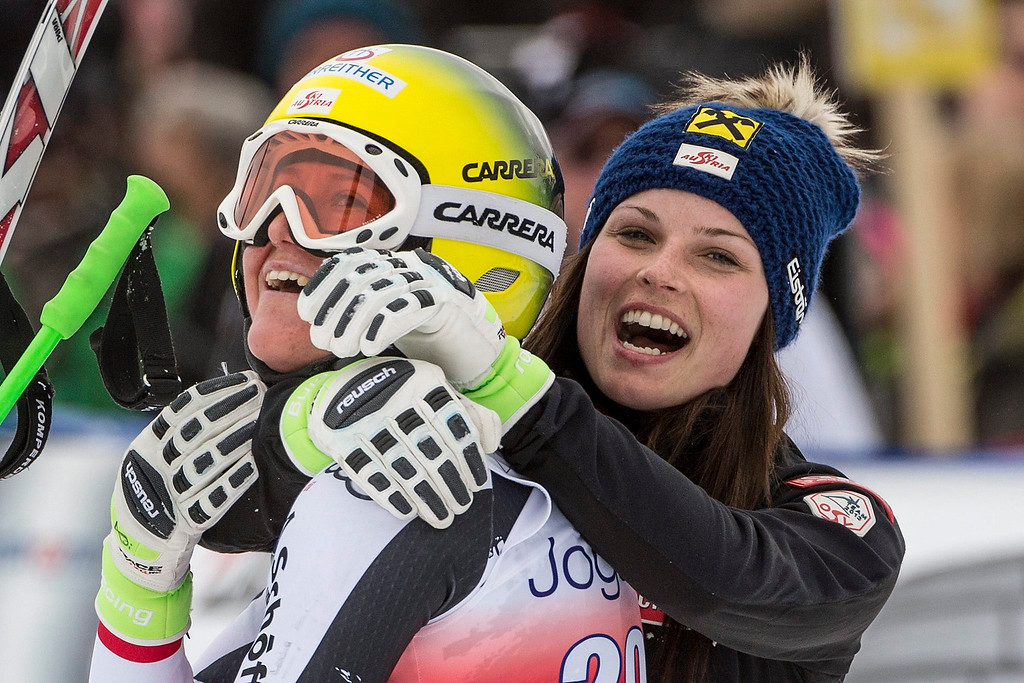 . Andrea Fischbacher (L) from Austria  celebrates with teammate Anna Fenninger (R) after winning the Women\'s Downhill race of the FIS Alpine Skiing World Cup  in Crans-Montana, Switzerland.  EPA/ALESSANDRO DELLA VALLE