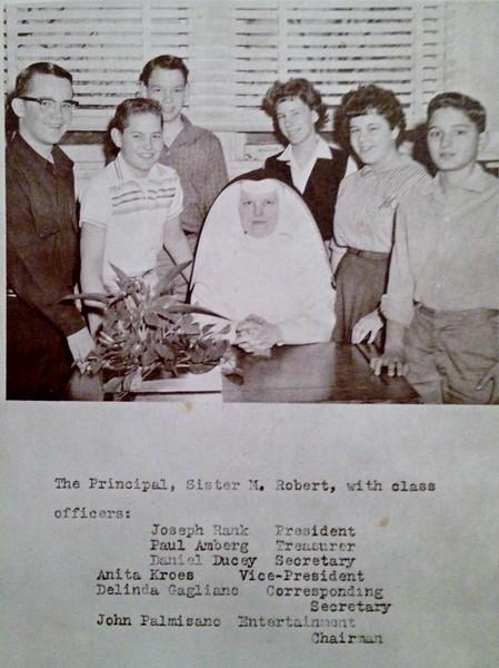 Paul Amberg, Sister M. Robert, Anita Kroes, Delinda Galiano, John Palmisano, Joe Rank, Daniel Ducey