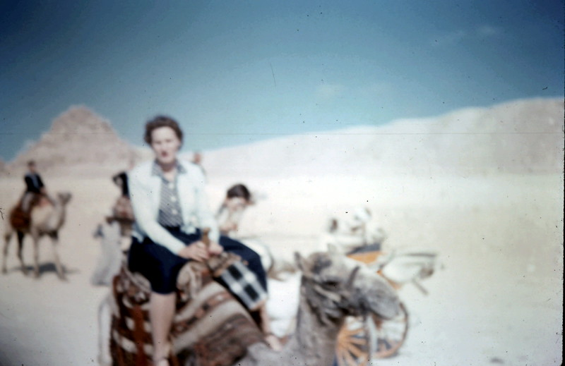 1958-12 (6) Mary Law on Camel @ Cario.JPG