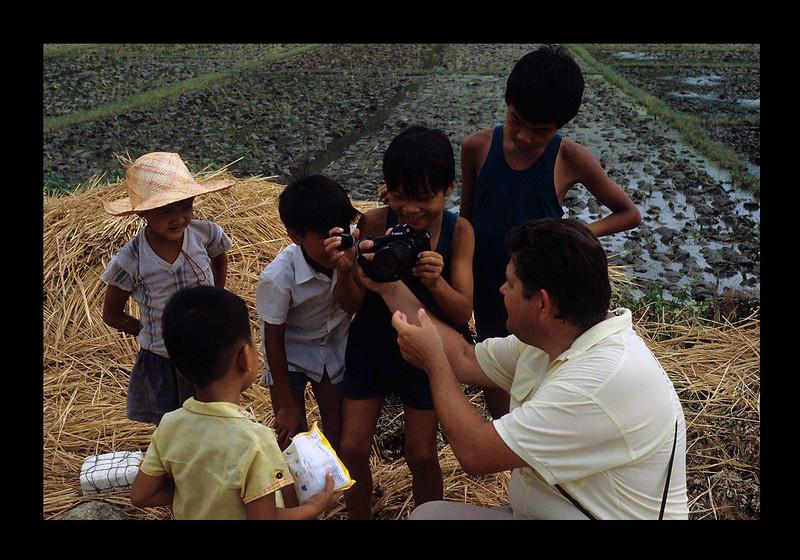 Jim with Kids at Cha Wan on South China Sea - 1989.jpg