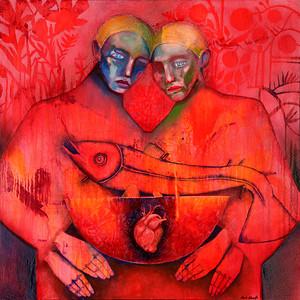 """Plato's Symposium"" (acrylic and oil on canvas) by Rene Alvarado"