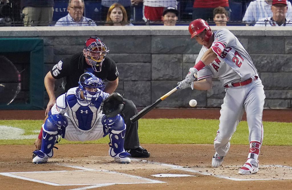 . Los Angeles Angels\' Mike Trout bats in the first inning during the 89th MLB baseball All-Star Game, Tuesday, July 17, 2018, at Nationals Park, in Washington. (AP Photo/Carolyn Kaster)
