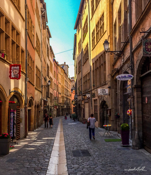 Historic Rue Juiverie, Lyon Old Town in late morning