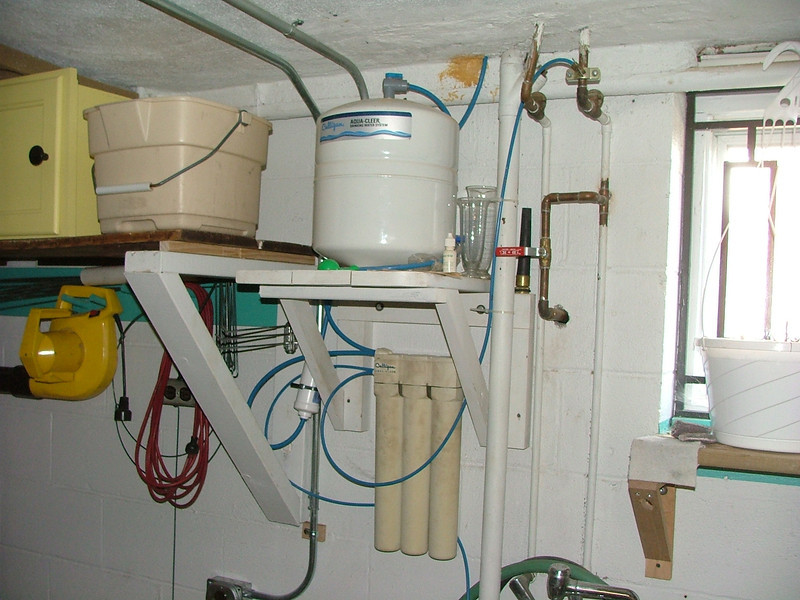 water filtration system leading to upstairs