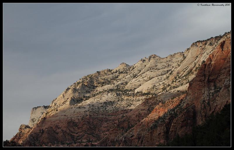 Mountain range at sunset, Zion National Park, Utah, May 2010