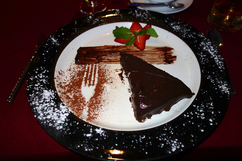 Chocolate cake - a lot. Eating at Restaurant Bordeaux, Pattaya, celebrating 21 years together