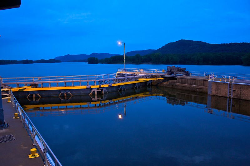 Lock Number 6 Mississippi River at dawn.