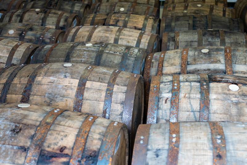 Casks at Laphroaig Distillery on Islay