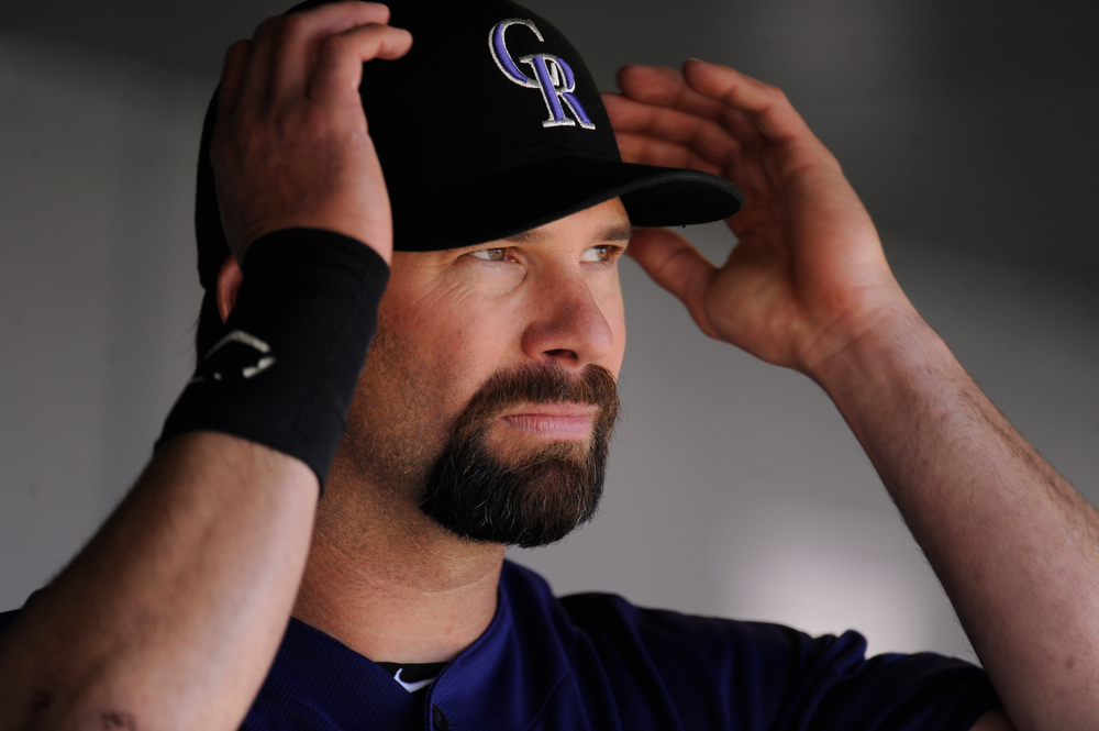 . Todd Helton in the dugout during the Colorado Rockies home opener against the San Francisco Giants at Coors Field on April 9, 2012. AAron Ontiveroz, The Denver Post