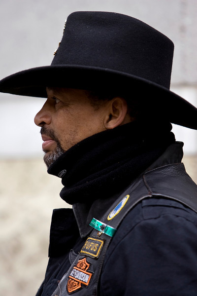 Rufus Crowder, a member of the Buffalo Soldiers motorcycle club watches the action at the MLK March.