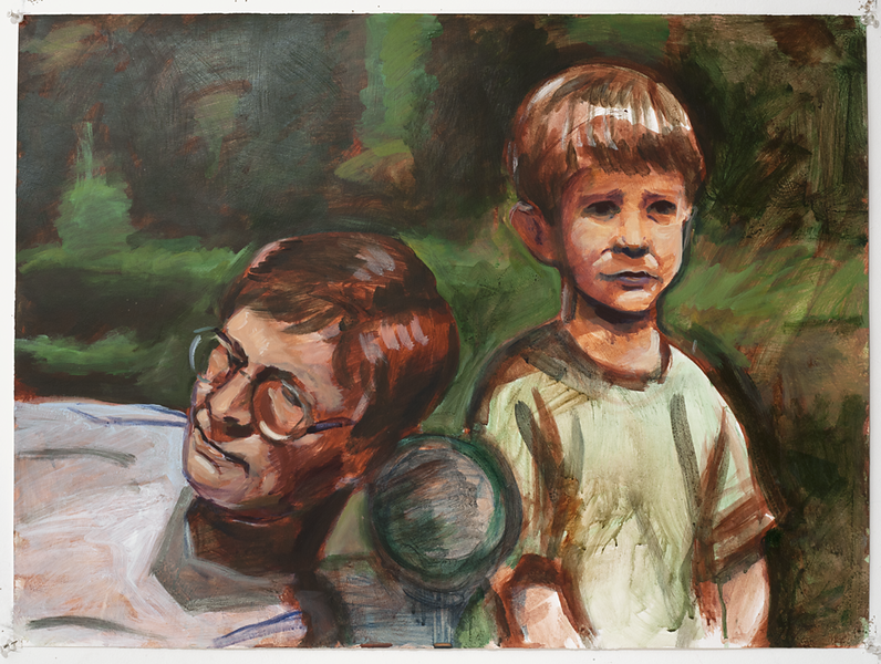 Double portrait, acrylic on paper, 22 x 30 in, 1995