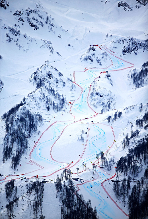 . SOCHI, RUSSIA - FEBRUARY 09:  The course is seen during the Men\'s Skiathlon 15 km Classic + 15 km Free during day two of the Sochi 2014 Winter Olympics at Laura Cross-country Ski & Biathlon Center on February 9, 2014 in Sochi, Russia.  (Photo by Richard Heathcote/Getty Images)