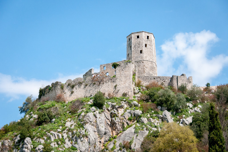 Old structure atop a hill in Mostar, Bosnia and Herzegovina