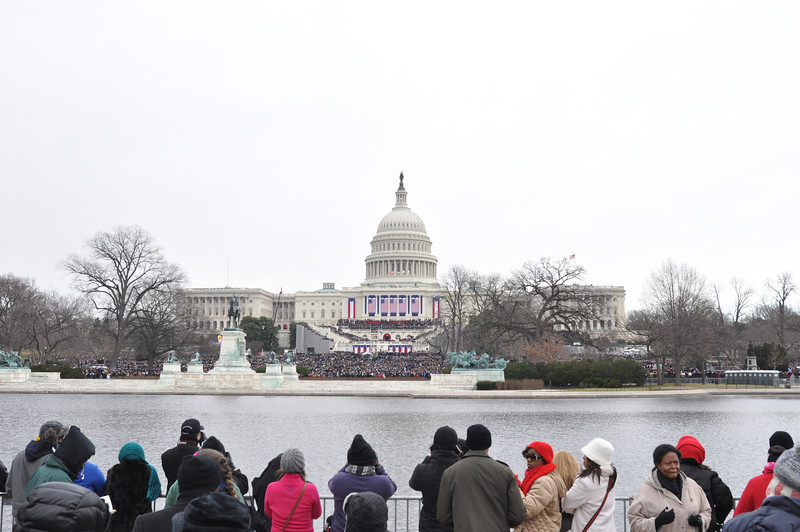 Crowds surrounding the Capitol on Inauguration Day