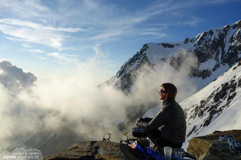 Boiling some water with a view over the clouds. A simple but joyful life.