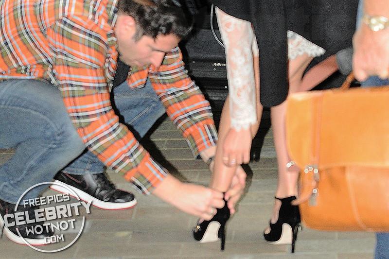 Lea Michele Wardrobe Malfunction With Heels In See-Through Philosophy Dress