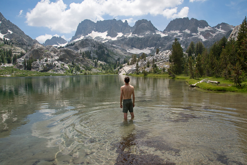 Clear water of Ediza Lake deep in the Ansel Adams Wilderness in California.